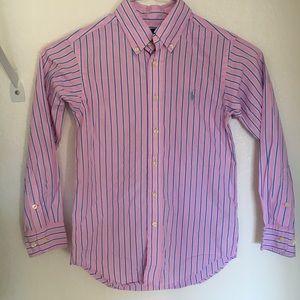 Ralph Lauren Pink Striped Dress Shirt Size 7